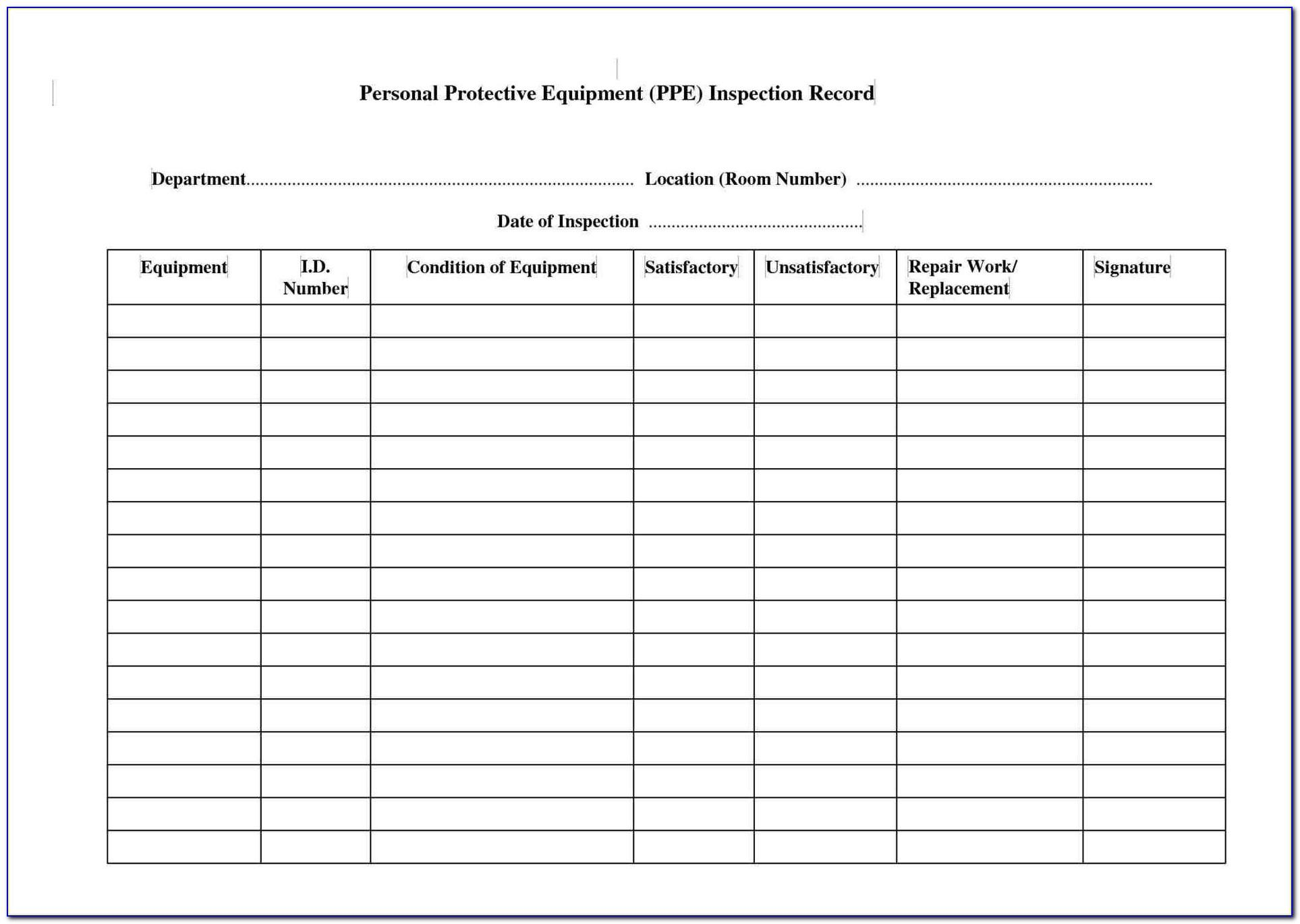 Machine Shop Inspection Report Template
