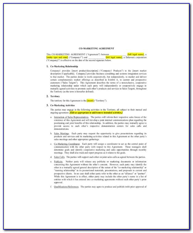 Marketing Partnership Agreement Template