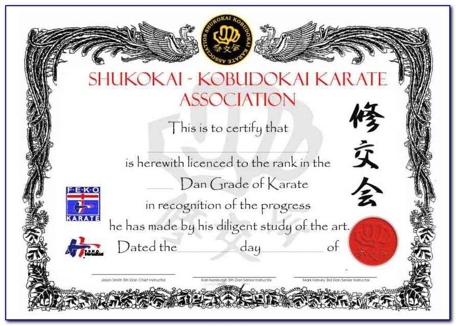 Martial Arts Certificate Templates Free Download