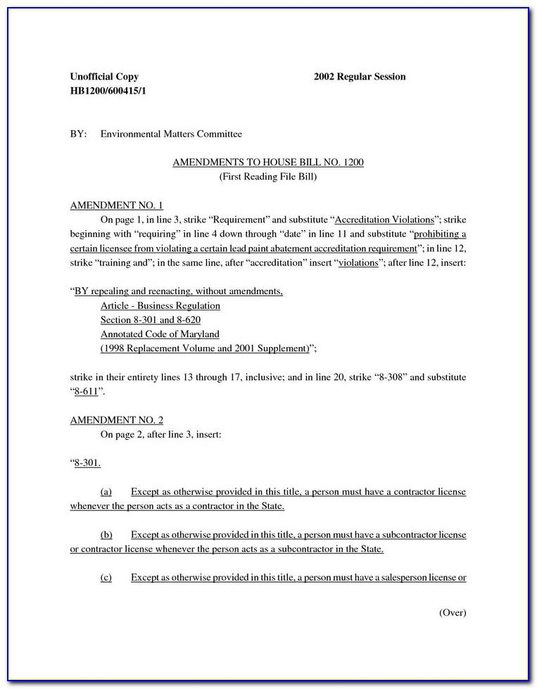 Maryland Home Improvement Contract Template
