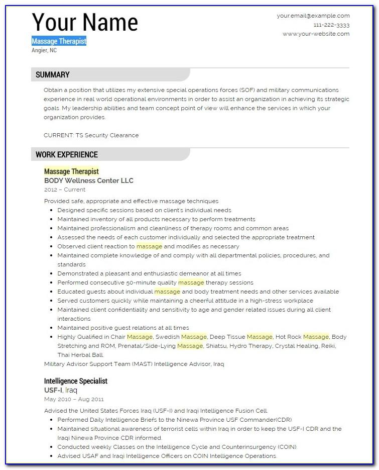 Massage Therapy Resume Template Free