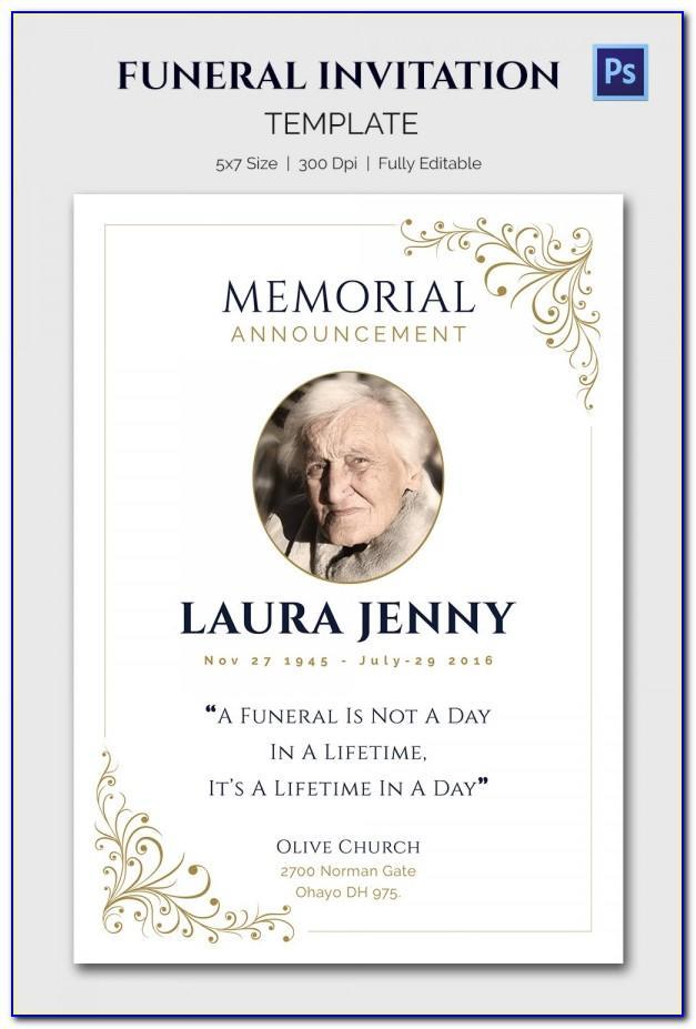 Memorial Announcement Template Free