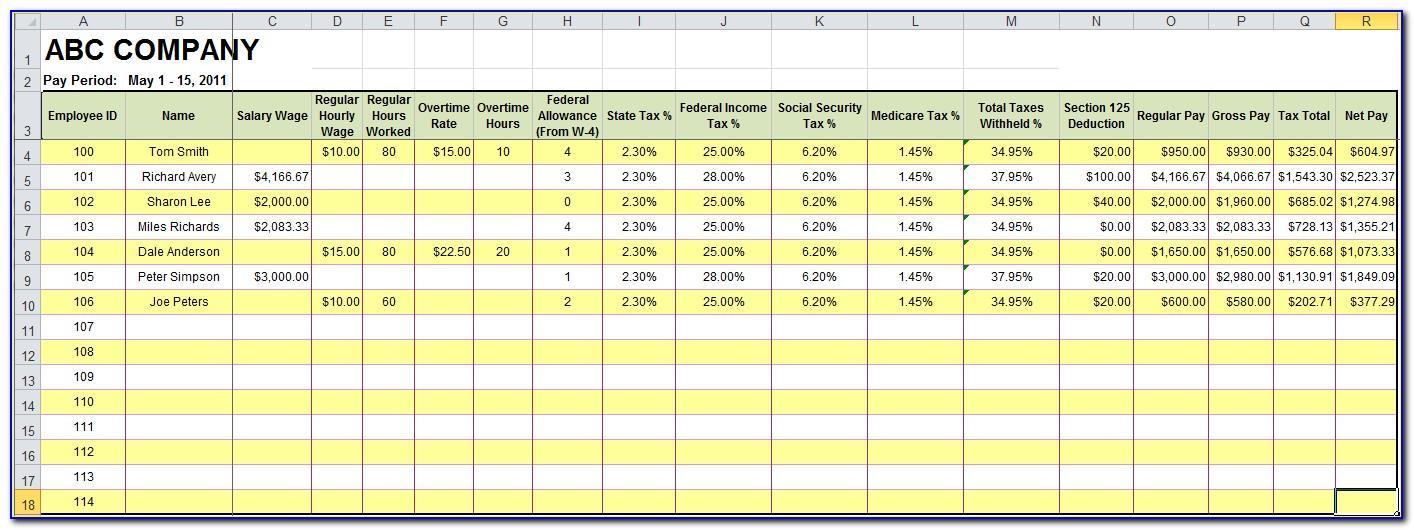 Microsoft Excel Payroll Spreadsheet Template