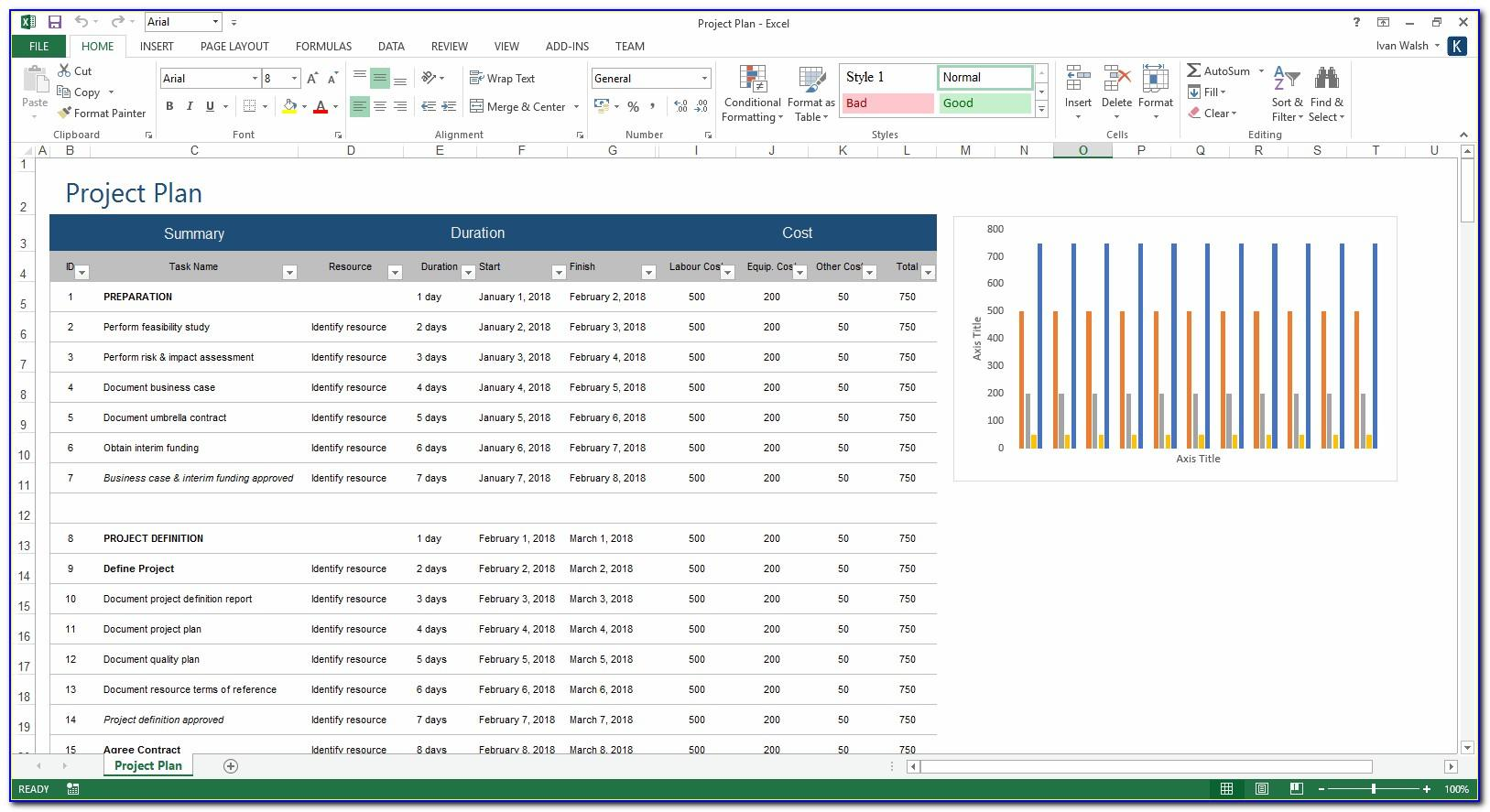 Microsoft Excel Project Plan Template Free Download