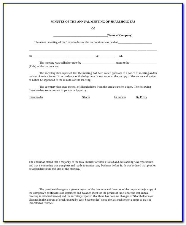 Minutes Of Shareholders Meeting Example