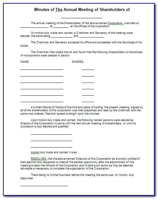 Minutes Of Shareholders Meeting Sample