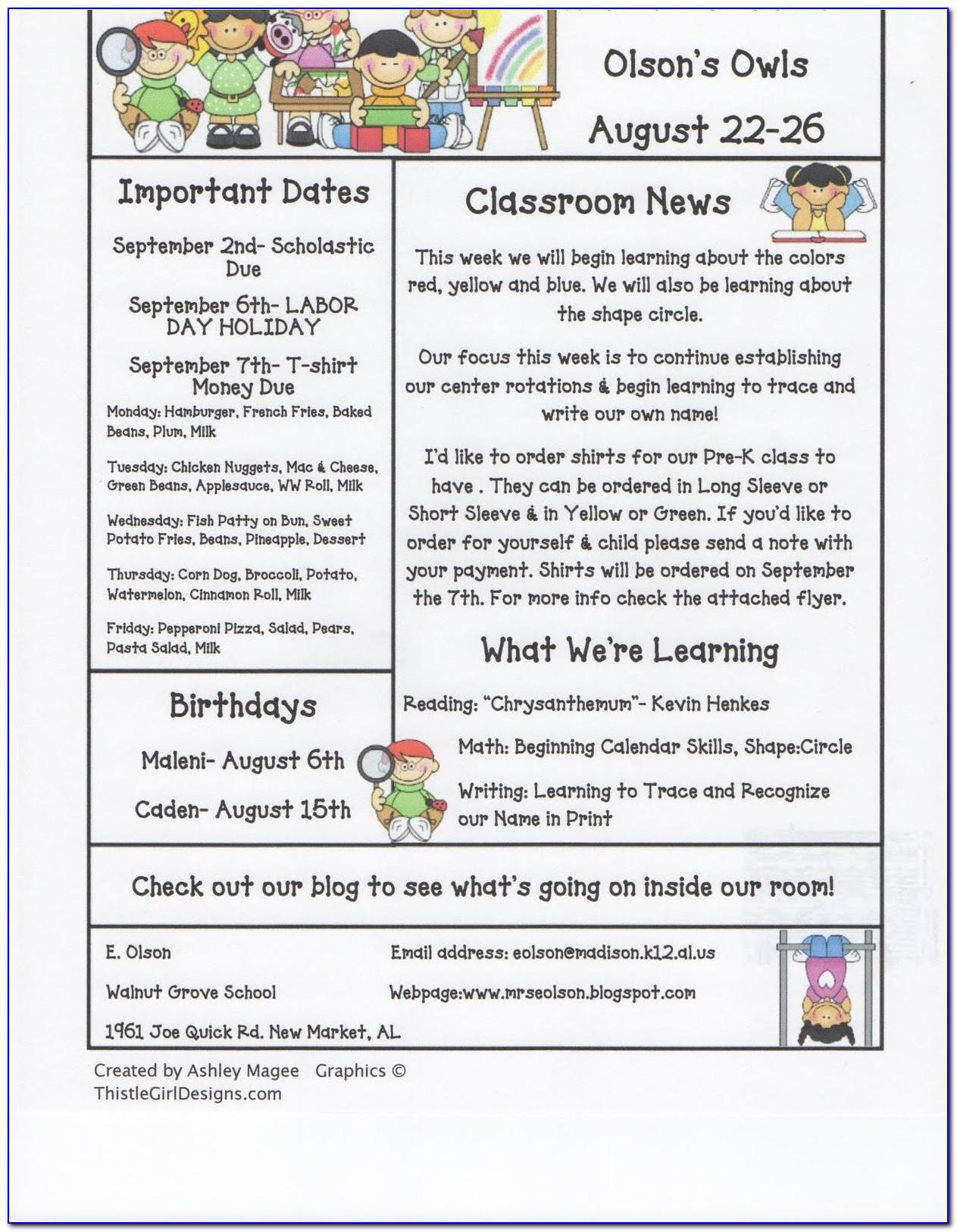 Monthly Class Newsletter Template