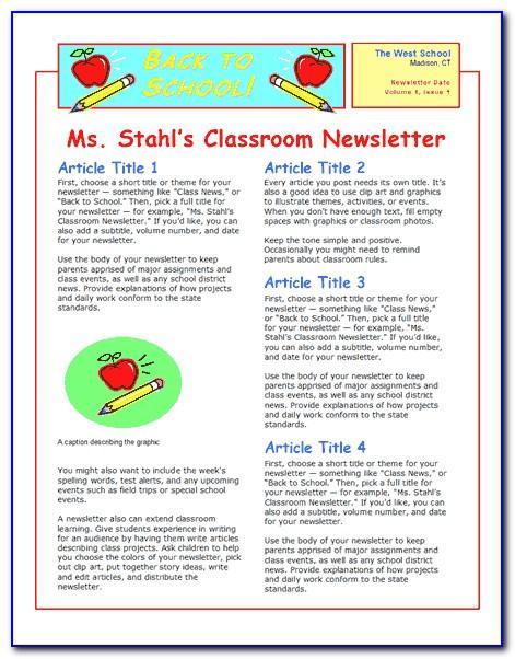 Monthly Teacher Newsletter Template