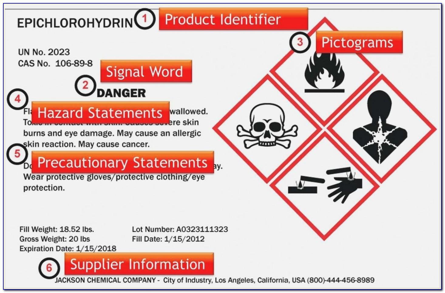 Msds Bottle Label Template