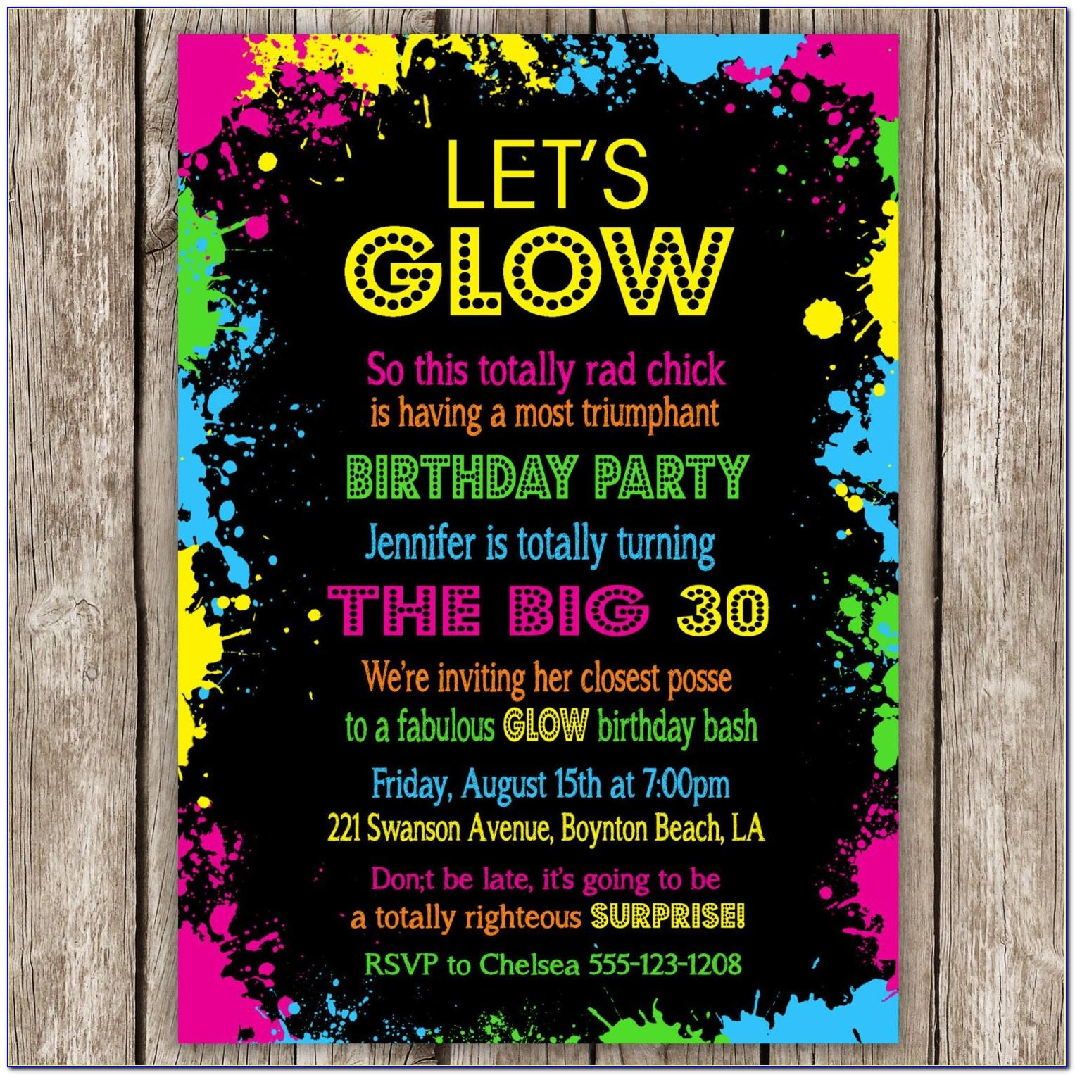 Neon Birthday Party Invitations Templates Free