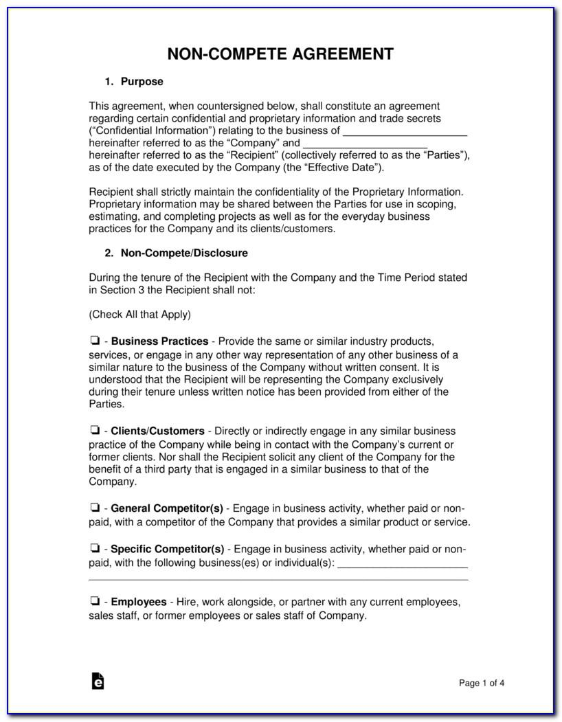 Non Compete Agreement Template Free Download