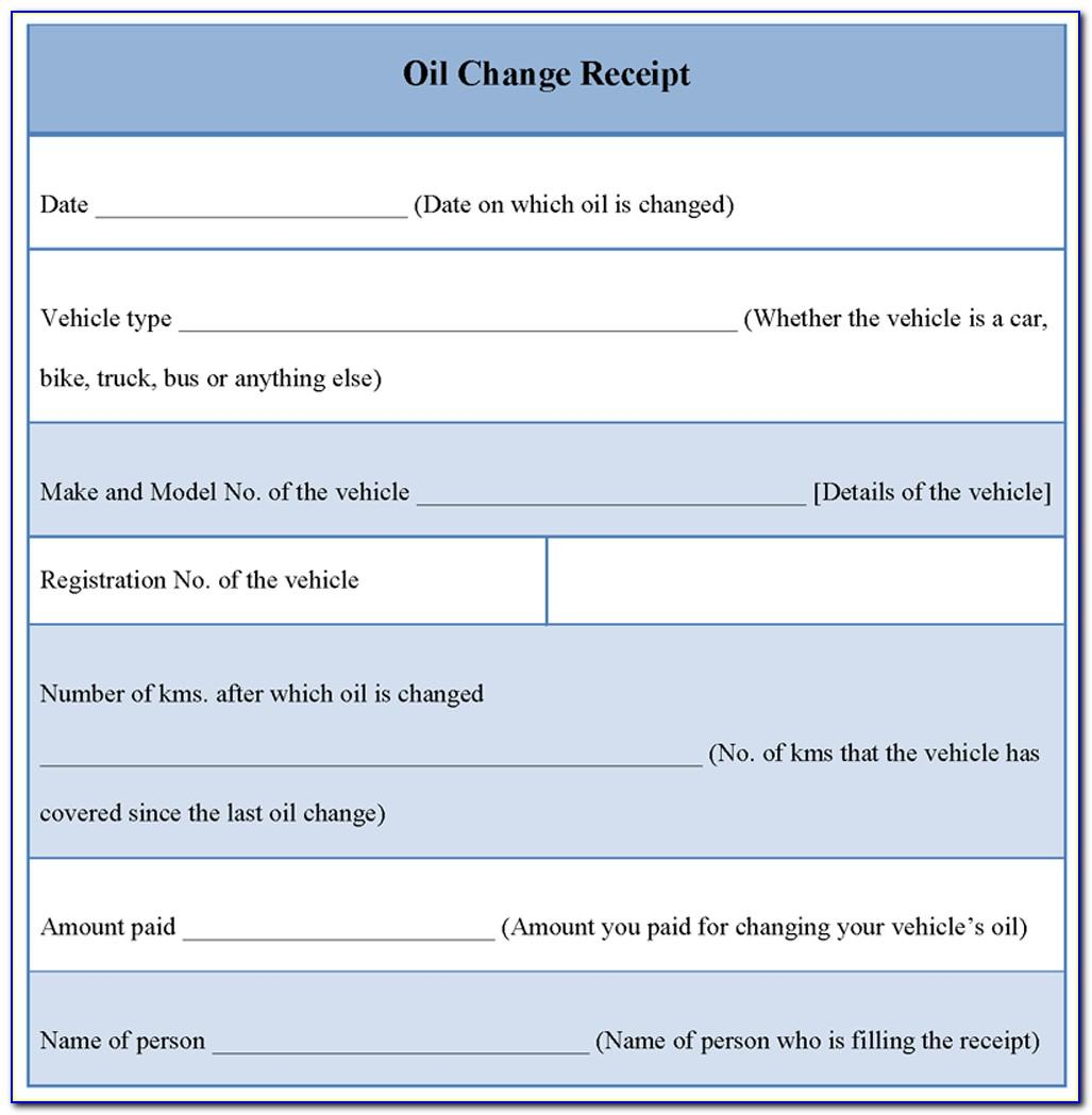 Oil Change Receipt Template Download