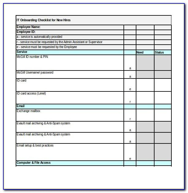 Onboarding Checklist For New Employees Template