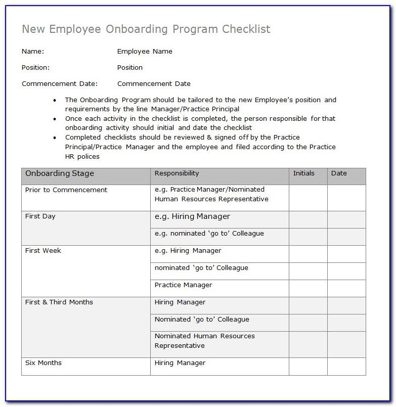 Onboarding Checklist For New Hires Template