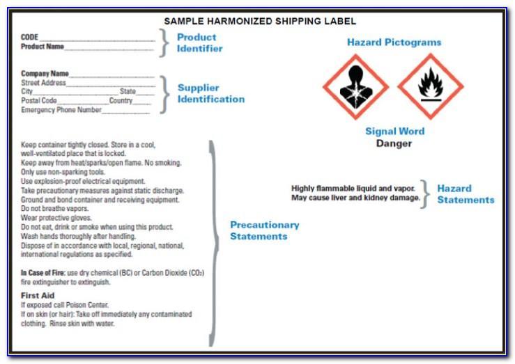 Osha Chemical Label Template