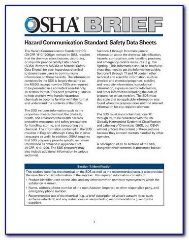 Osha Safety Data Sheet Template 2019