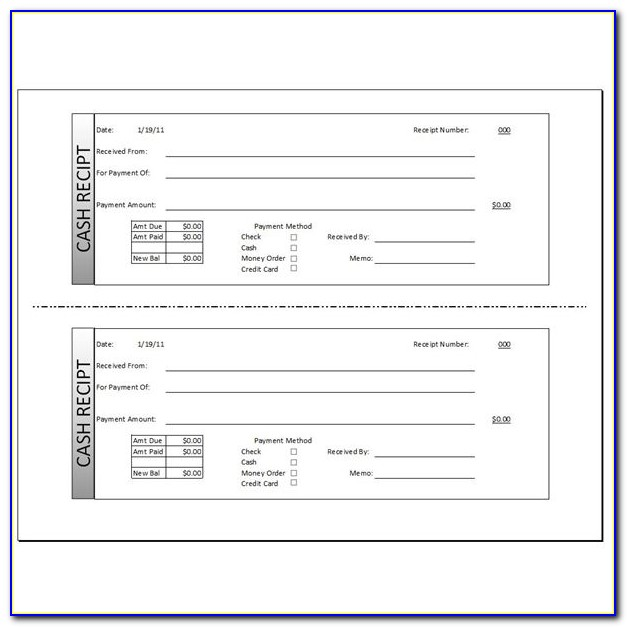 Paid Receipt Template Excel
