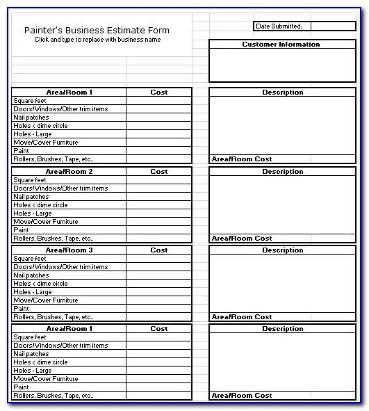 Painting Estimate Forms Free