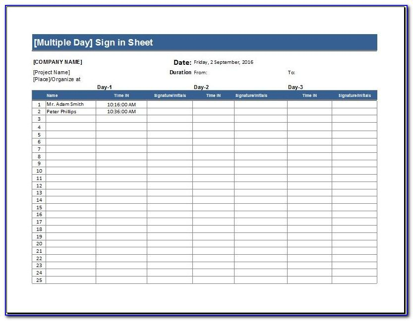 Patient Sign In Sheet Template Word