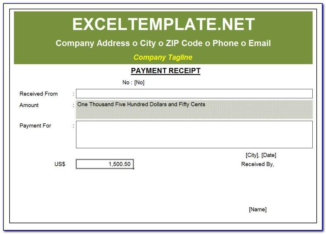 Payment Receipt Format Excel