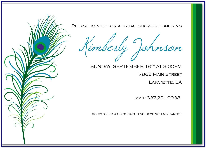 Peacock Wedding Invitation Free Template