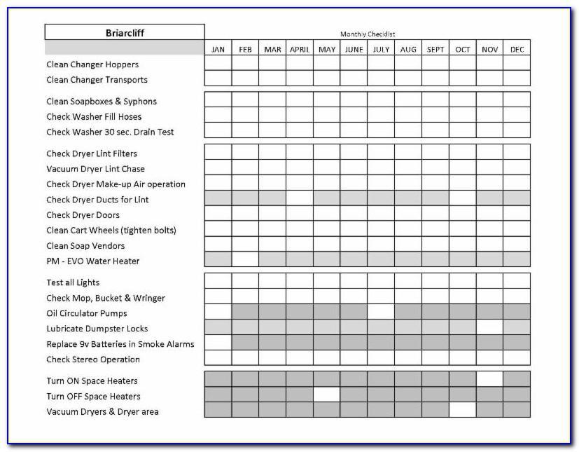 Preventive Maintenance Checklist Form
