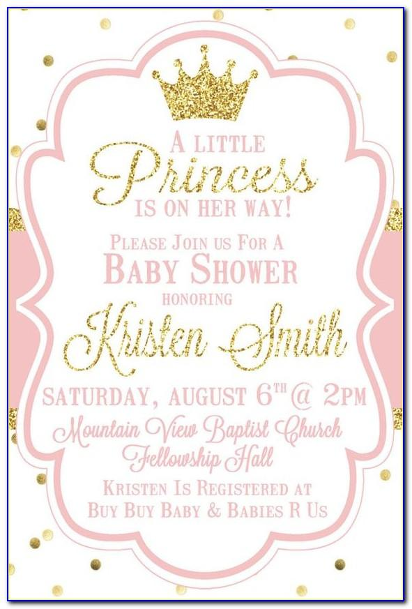Princess Baby Shower Invitations Templates
