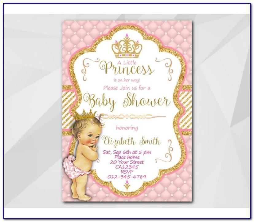 Princess Baby Shower Party Invitations Templates