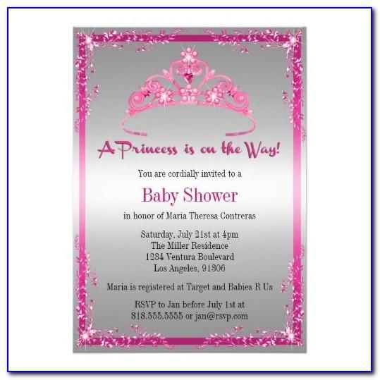 Princess Theme Baby Shower Invitation Template