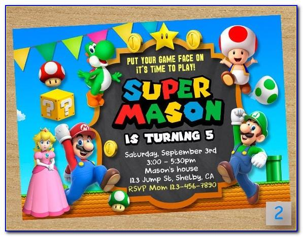 Printable Super Mario Invitations Template Free