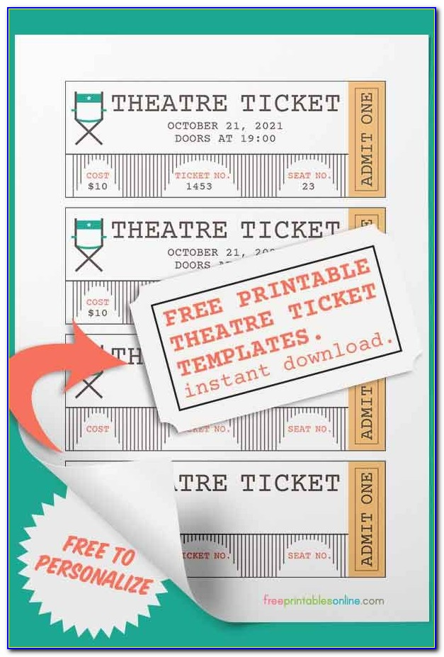 Printable Theatre Ticket Template