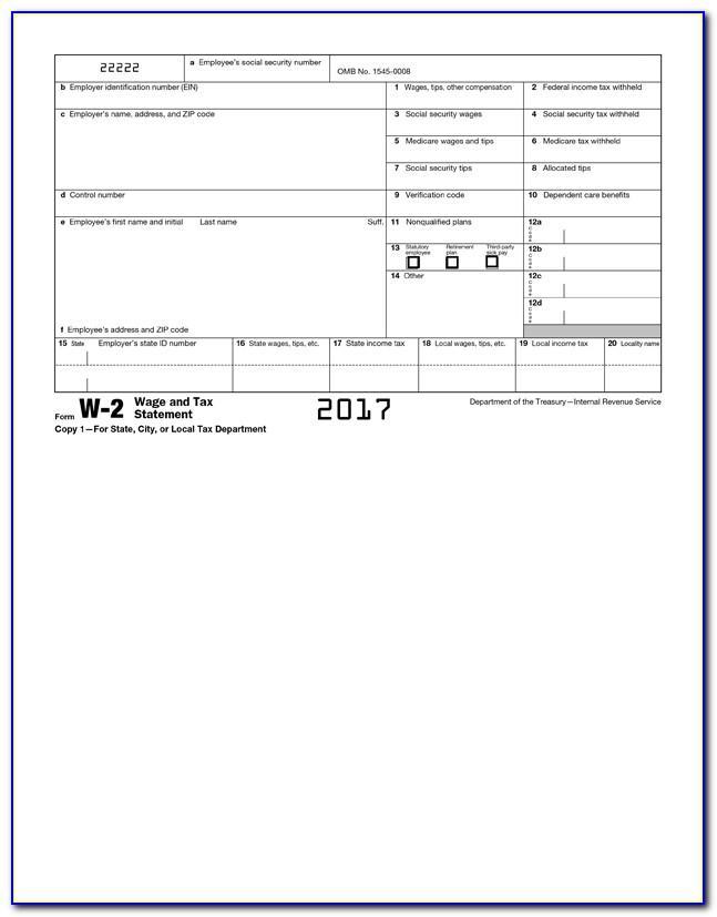 Printable W2 Template