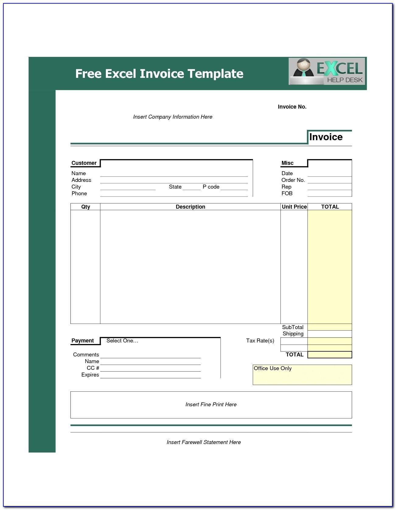 Proforma Invoice Template Free Excel