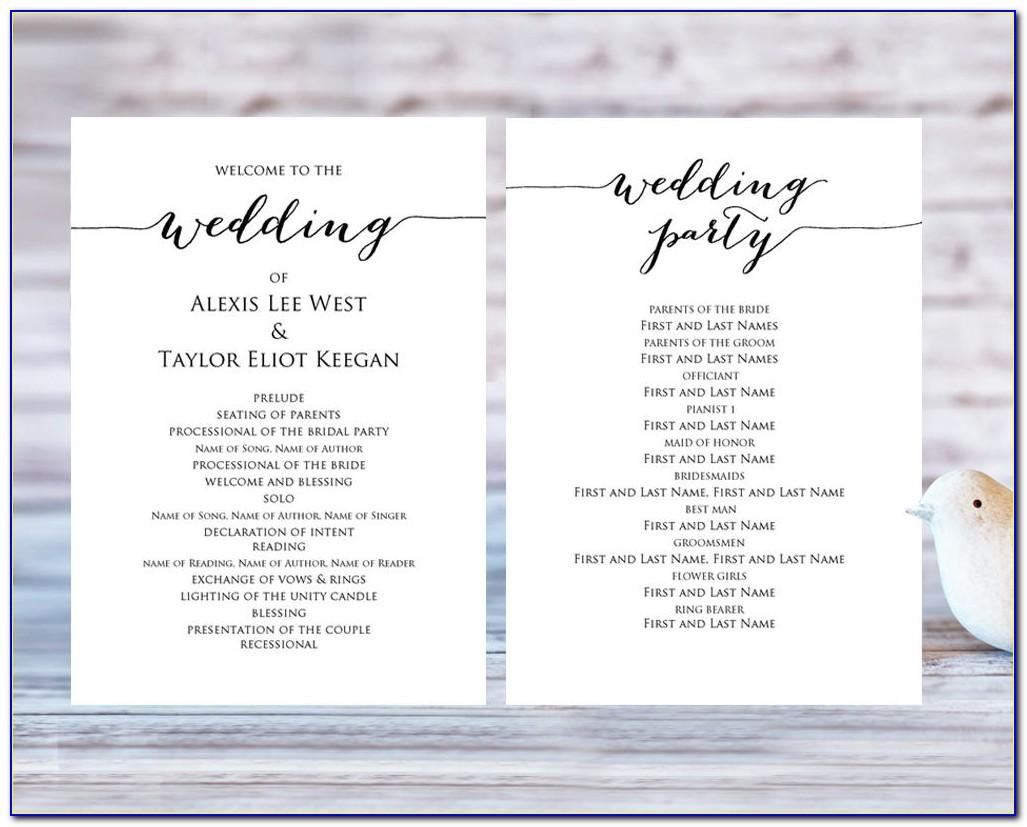 Programs For Wedding Receptions Templates