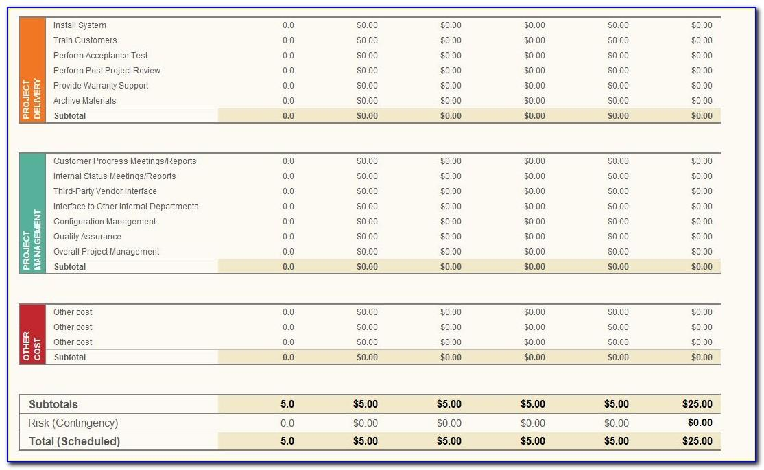 Project Budget Plan Template Excel