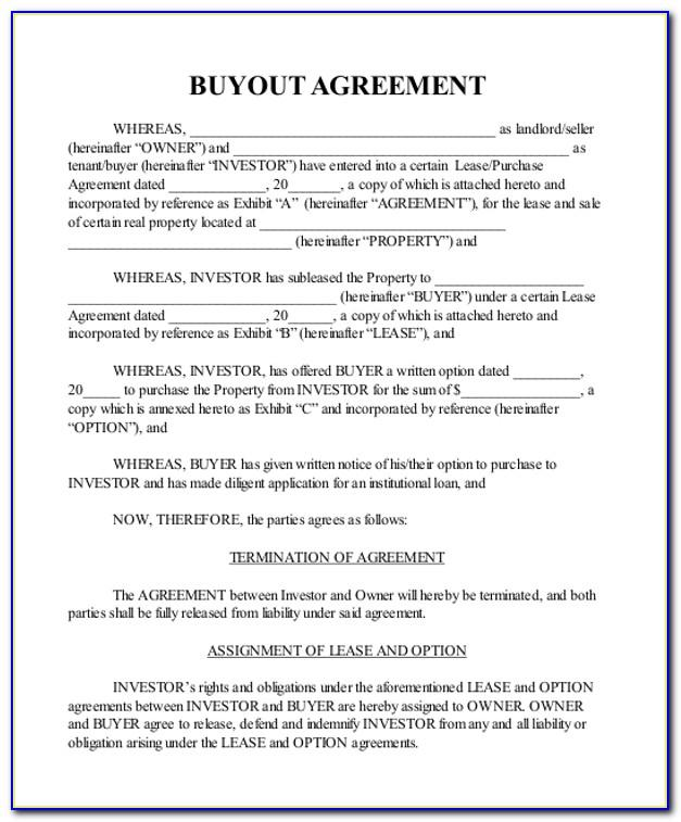 Property Buyout Agreement Template