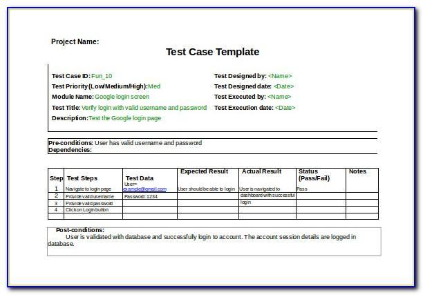 Qa Test Case Template Excel