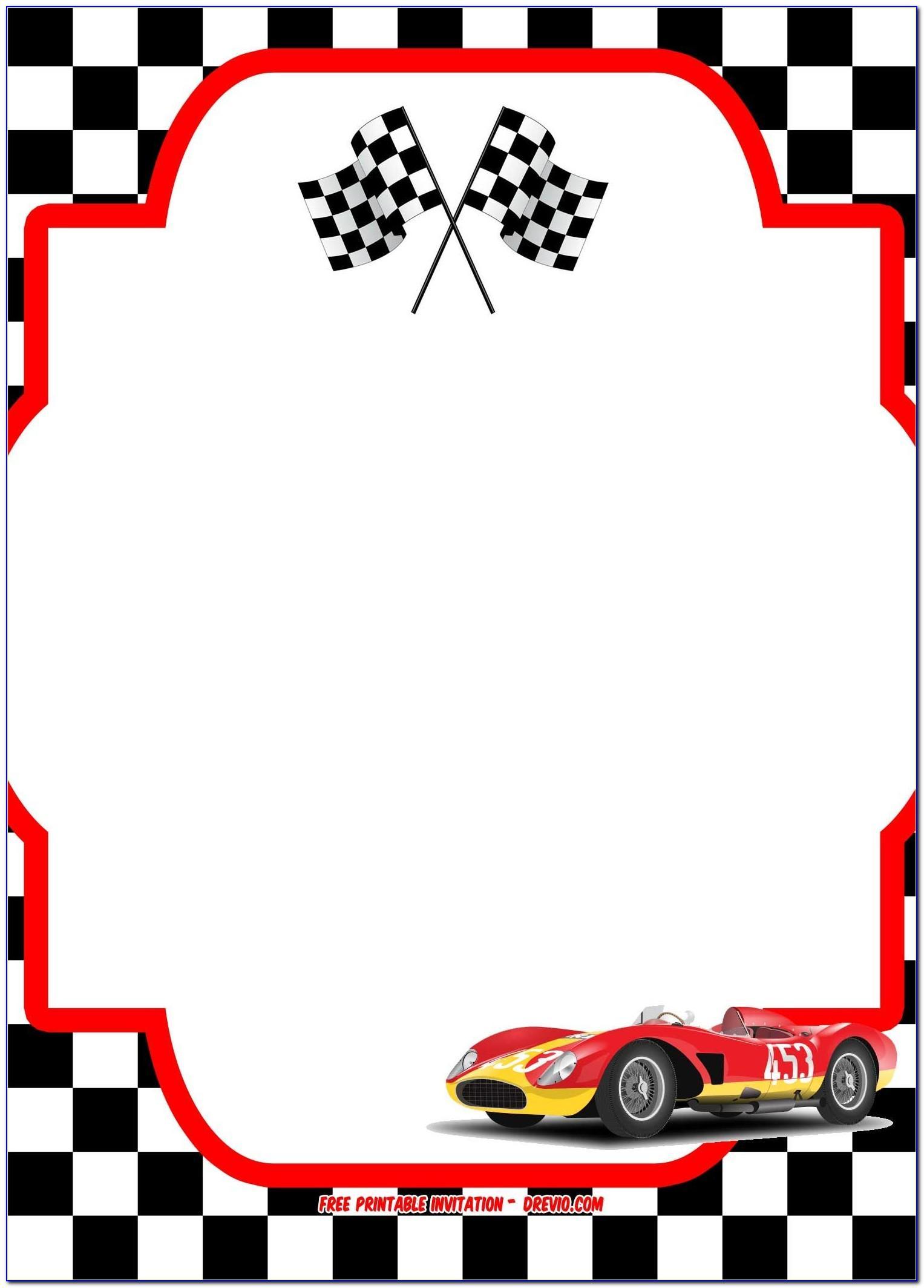 Race Car Party Invitation Templates