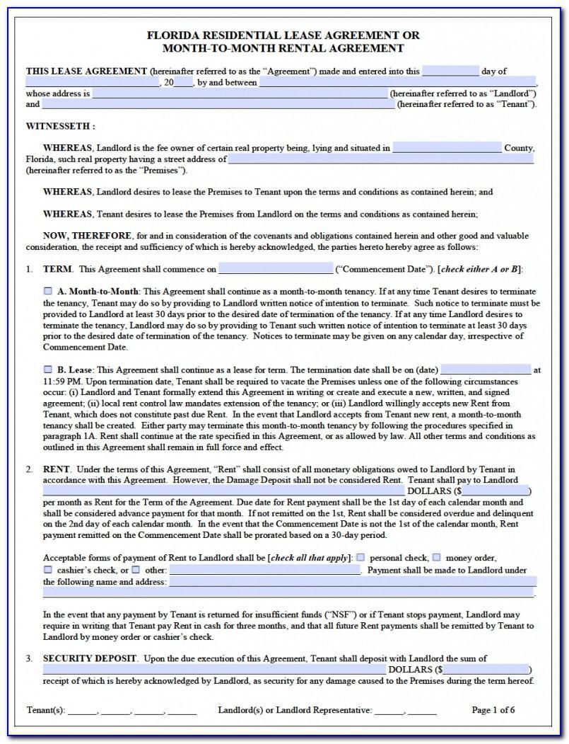 Rental Agreement Florida Template