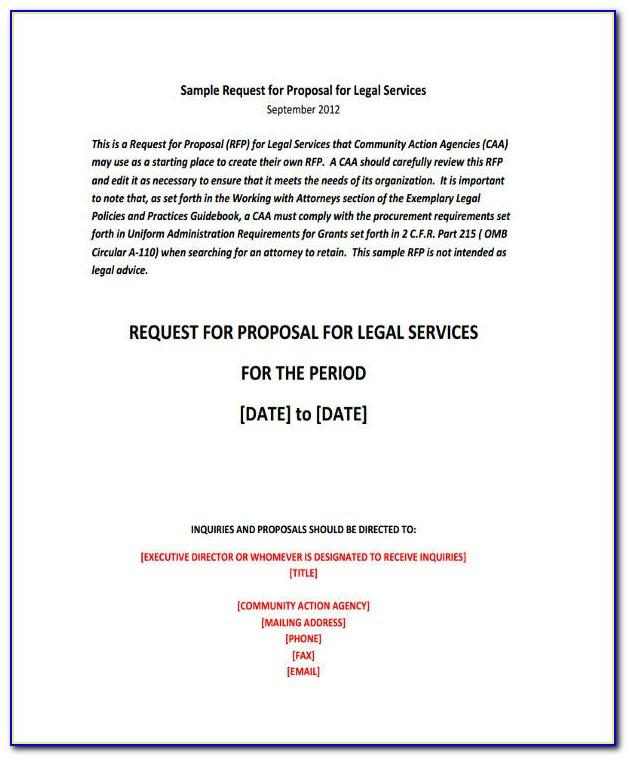 Request For Proposal For Legal Services Template