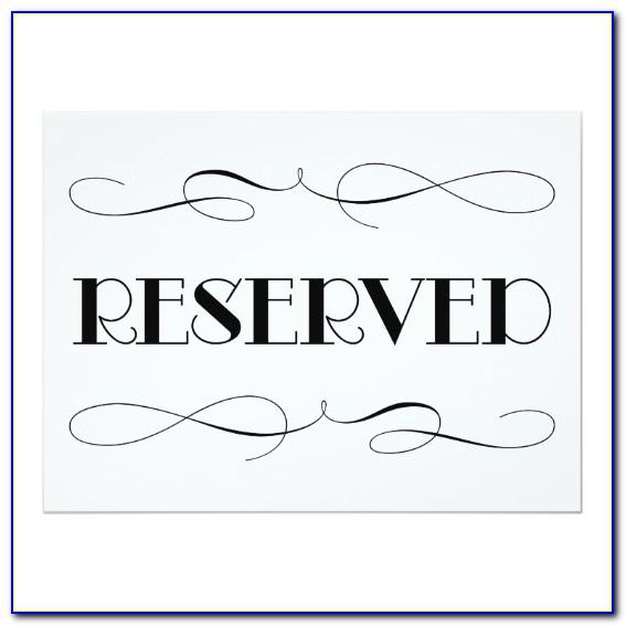 Reserved Seating Signs Printable