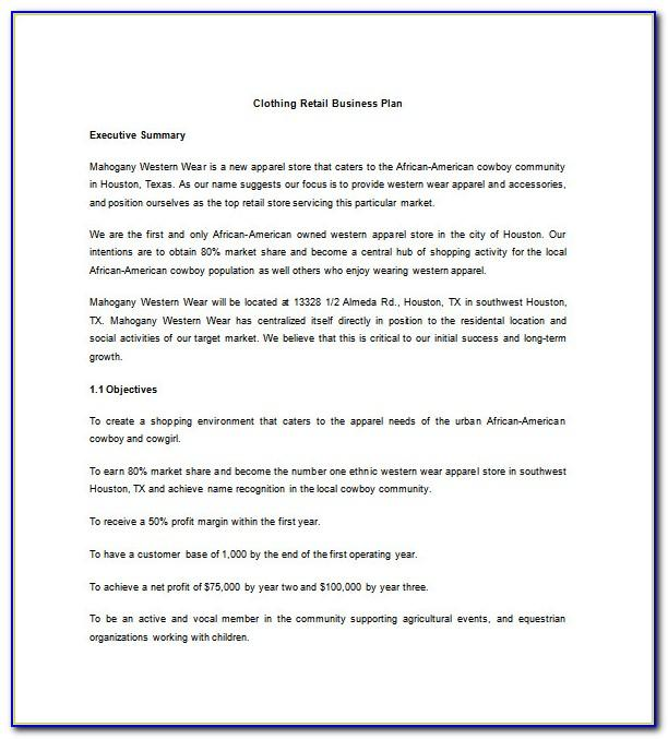 Retail Clothing Store Business Plan Template