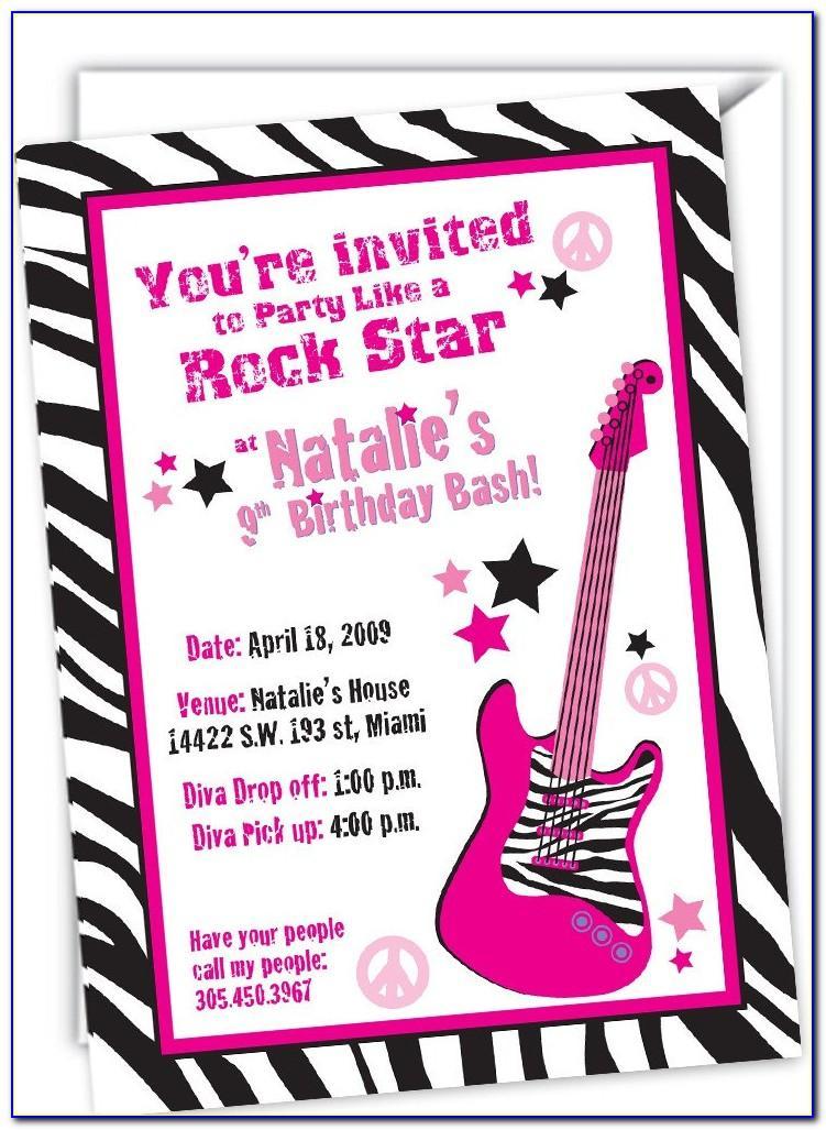 Rock Star Birthday Invitation Templates