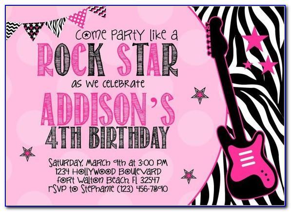 Rock Star Birthday Party Invitation Boy Templates