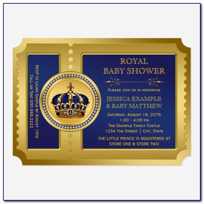 Royal Blue And Gold Baby Shower Invitation Templates