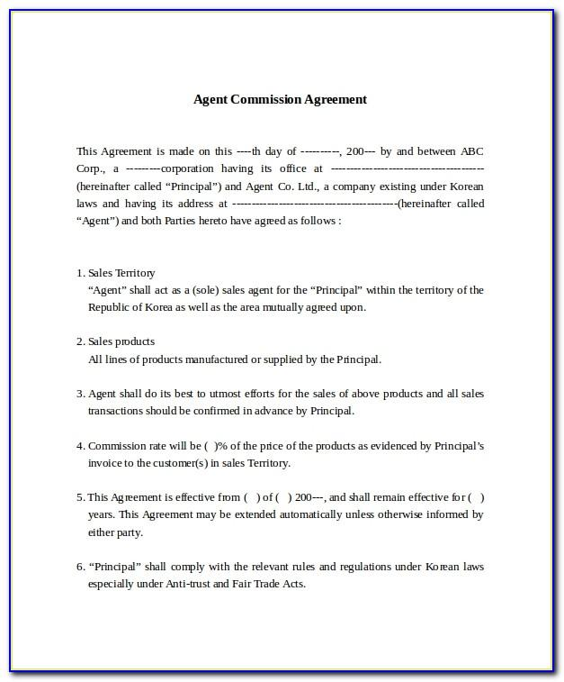 Sales Commission Contract Template Free