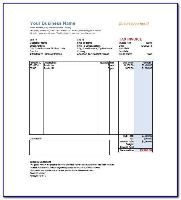 Sales Invoice Template Microsoft Word