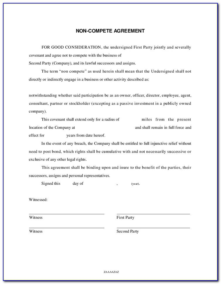 Sales Non Compete Agreement Template