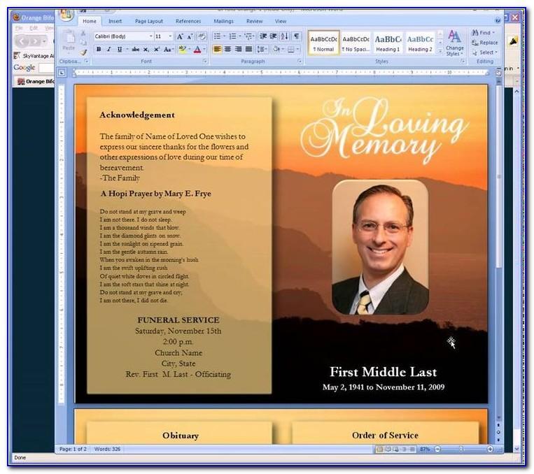 Sample Funeral Programs Templates