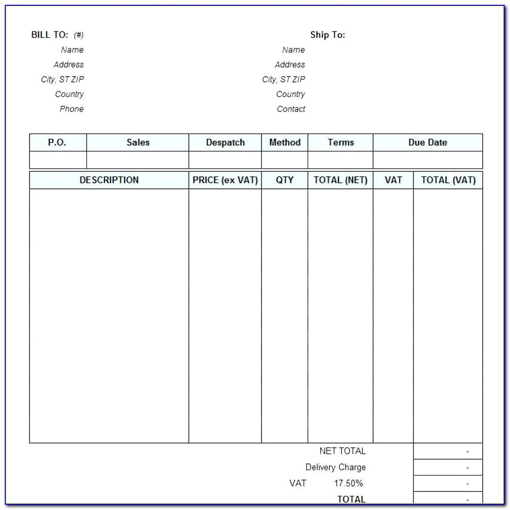Sample Invoice For Services Rendered Template
